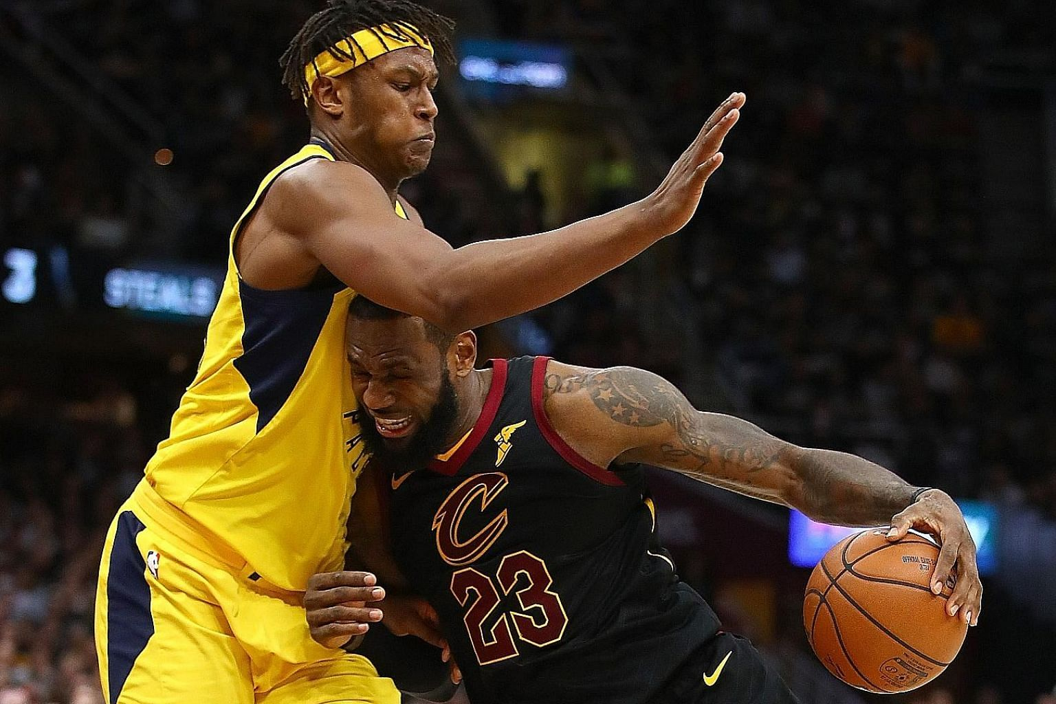 Cavaliers star LeBron James trying to drive around Pacers centre Myles Turner during the second half in Game 7 of the NBA Eastern Conference quarter-finals at Quicken Loans Arena on Sunday. James finished with 45 points.