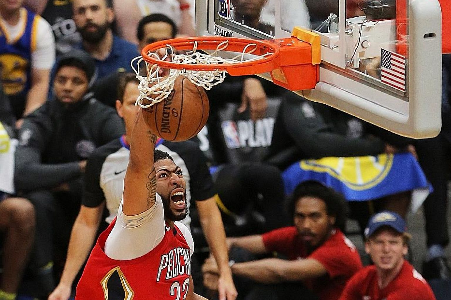 Pelicans forward Anthony Davis dunks the ball in Game 3 of the NBA Western Conference semi-finals at the Smoothie King Centre in New Orleans, Louisiana. The Pelicans won 119-100 but still trail 1-2 in the best-of-seven series.