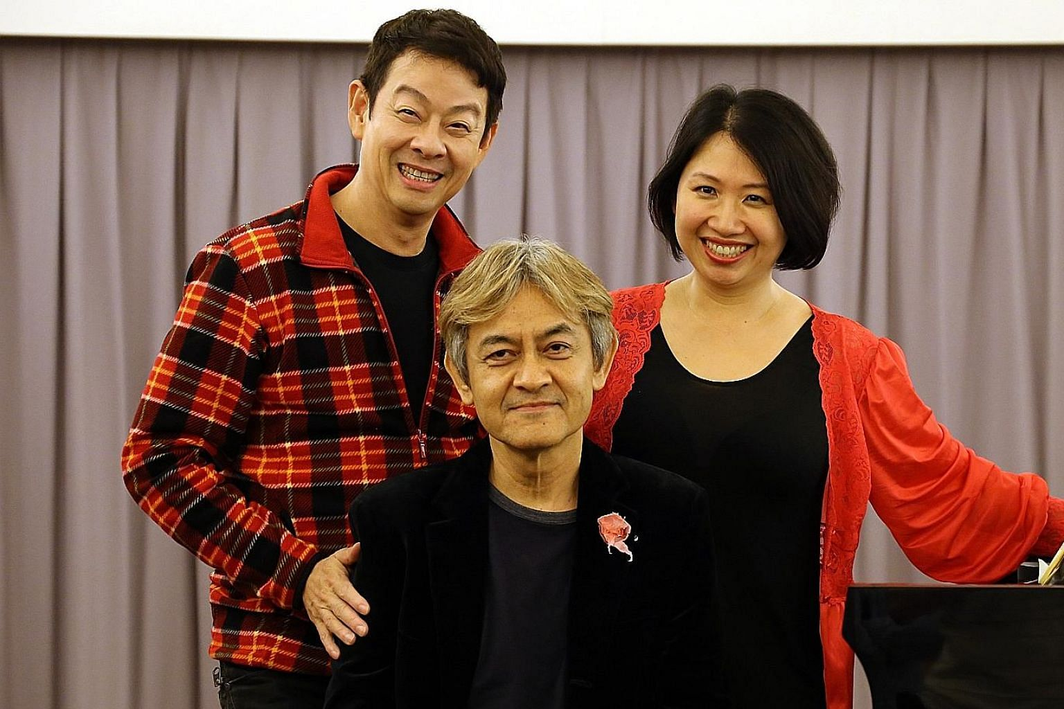 (From far left) Ivan Heng directs La Voix Humaine, which stars pianist Shane Thio and soprano Jennifer Lien.