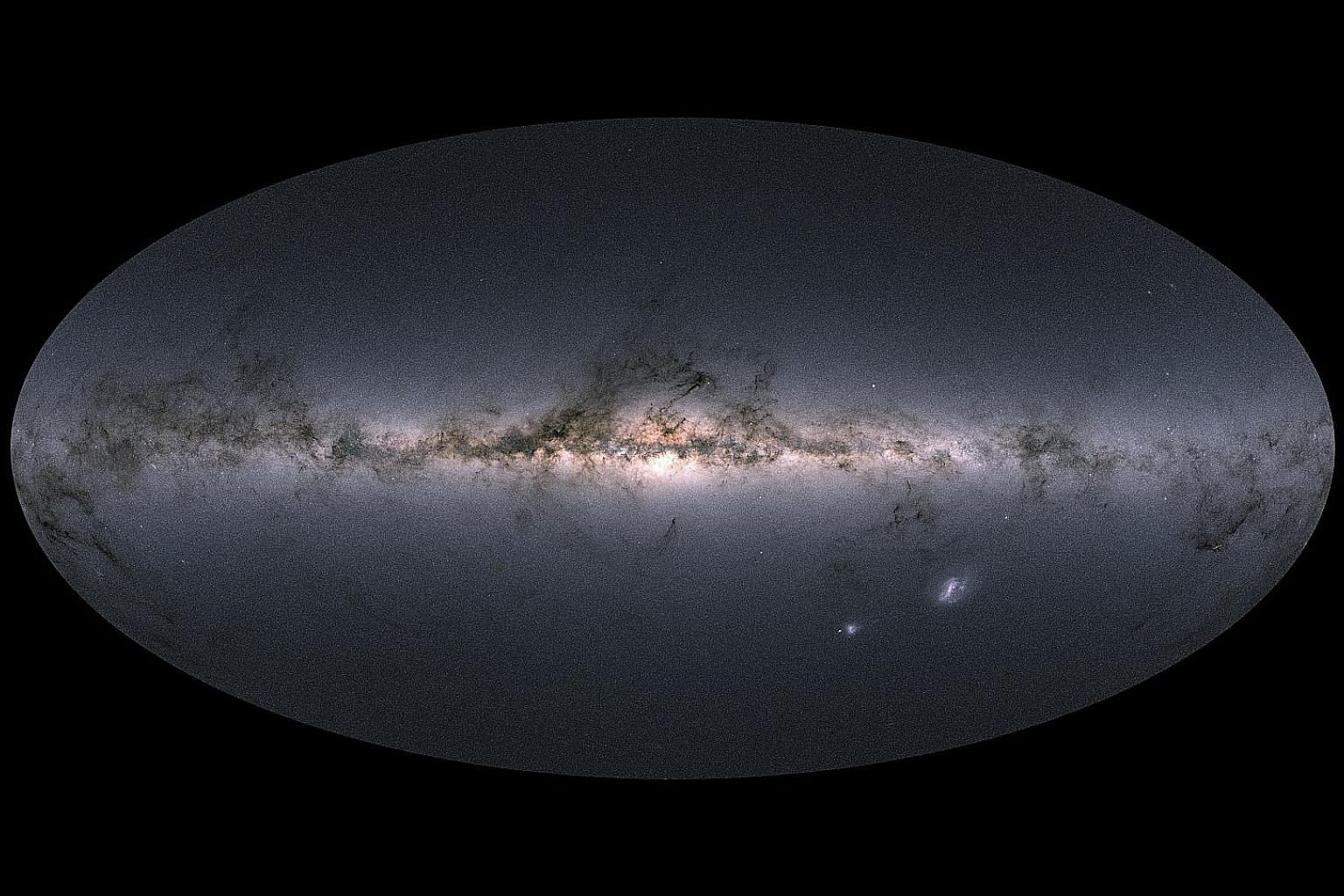 A view of the Milky Way and neighbouring galaxies, containing more than a billion stars in an image provided by the European Space Agency.