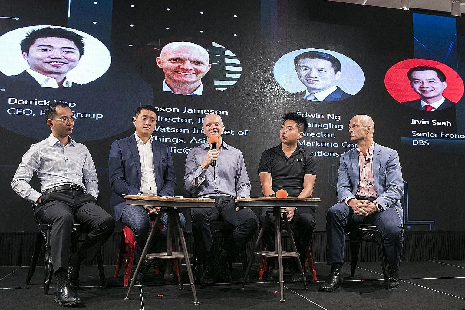 On The Future of Electronics panel yesterday were (from left) Mr Irvin Seah, senior economist at DBS; Mr Edwin Ng, managing director of Markono Content Solutions Group; Mr Jason Jameson, director, IBM Watson Internet of Things, Asia Pacific@IBM; Mr D