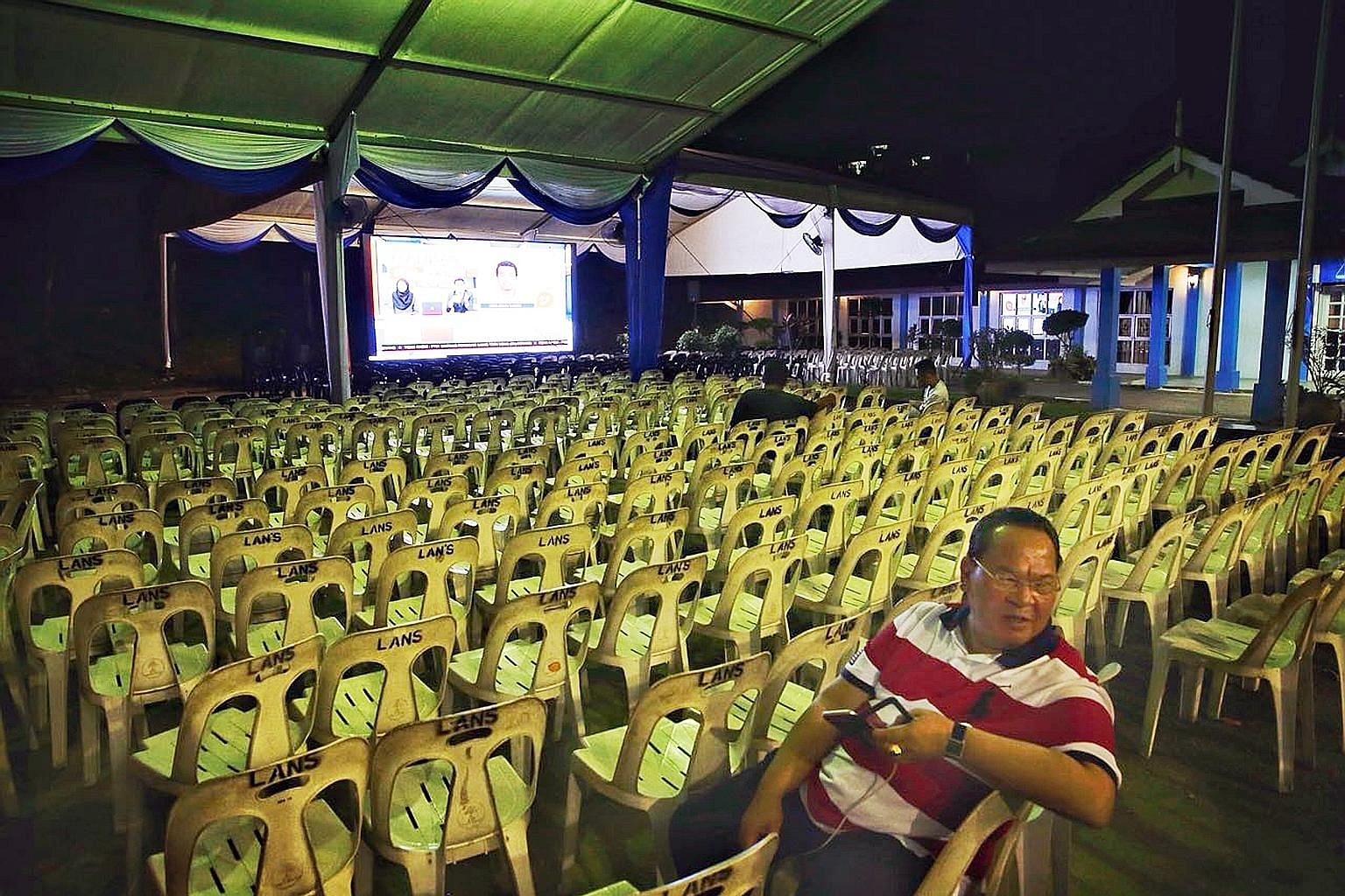 Empty chairs at Umno's headquarters in Johor Baru last night, where supporters were to gather. In the end, opposition coalition Pakatan Harapan wrested control of the state.