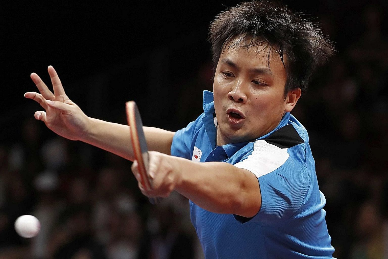Pang Xue Jie in action at the Gold Coast Commonwealth Games last month, the first time since 2002 that the men's team had failed to win a medal.
