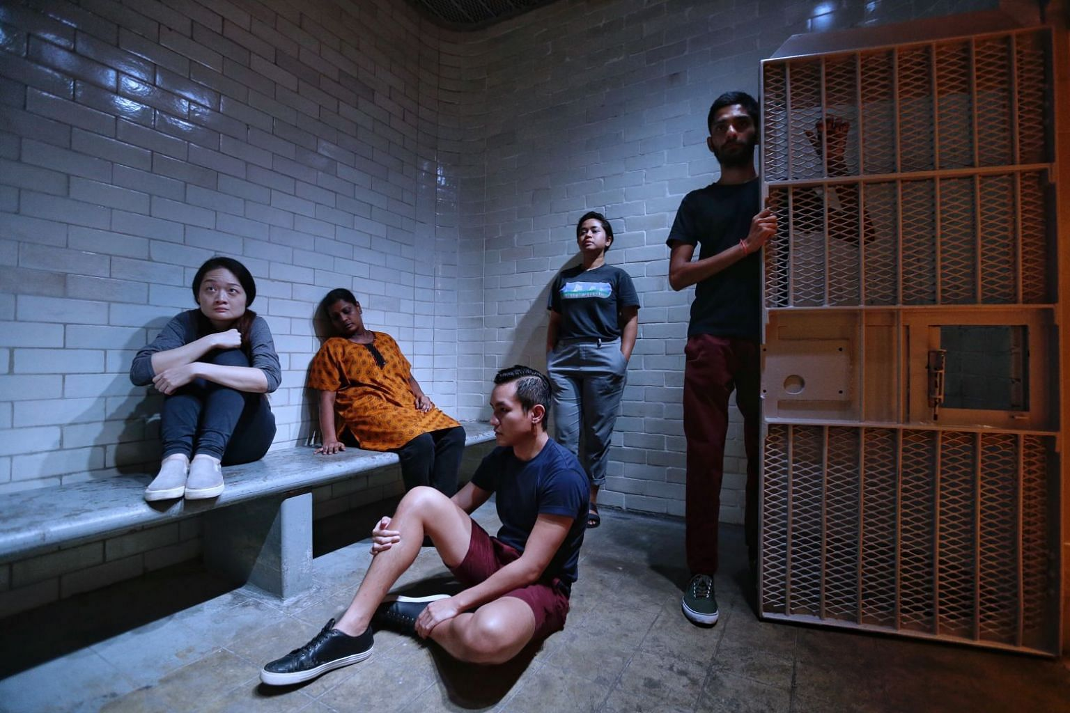 Festival commissions included 0600 (above, in a rehearsal) by Singapore arts collective Ground Z-0, which took ticketholders through the stories of prisoners and government officials at the former Supreme Court.
