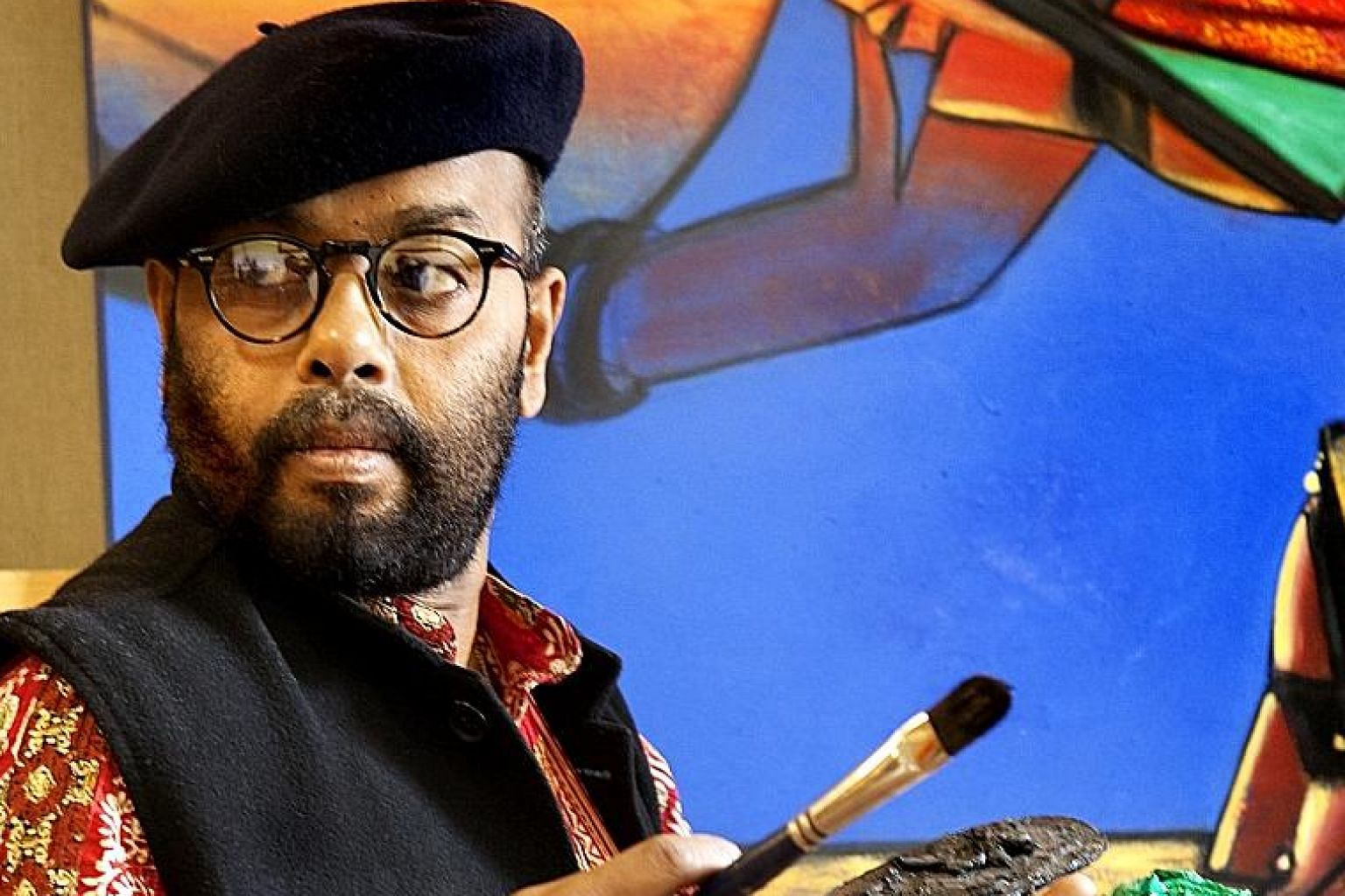 Paresh Maity, who likes to hear people's thoughts on his work, will mingle with fairgoers this weekend.