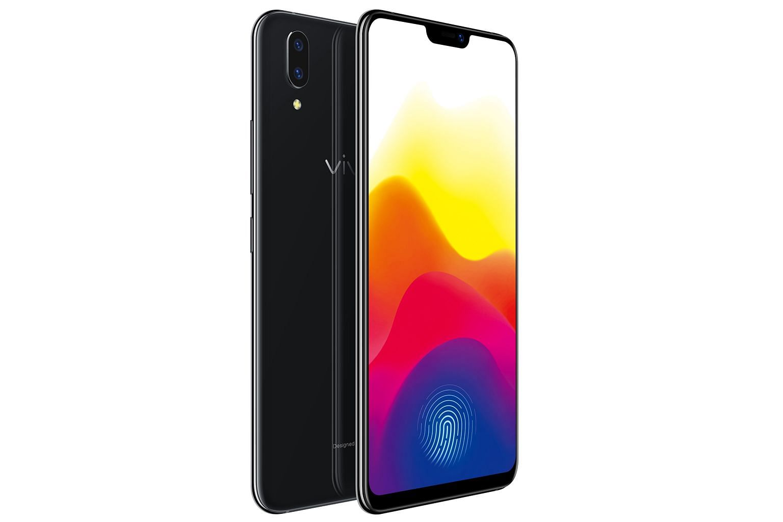The Vivo X21 has an all-screen design with a thin bezel and a notch at the top to accommodate the front camera.