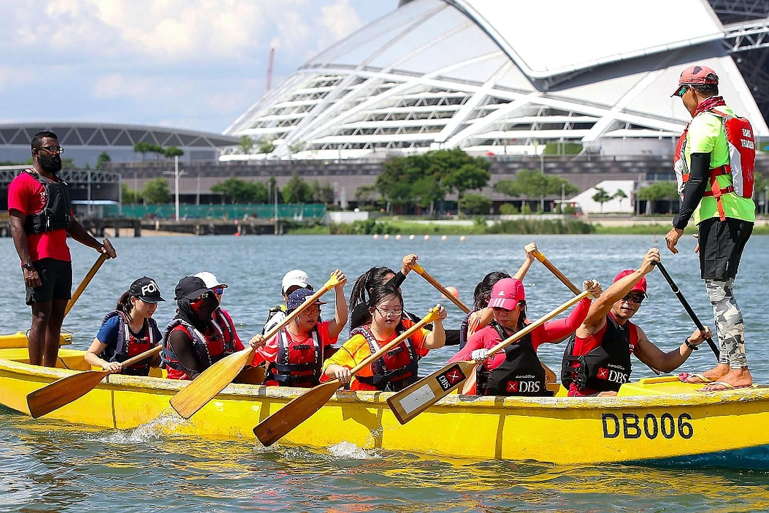 DBS Asia Dragons (competitive dragon boaters) have been coaching more than 60 youth with special needs and those at risk to prepare them for racing at the new Community Race category at the DBS Marina Regatta on June 2. A three-week training programm