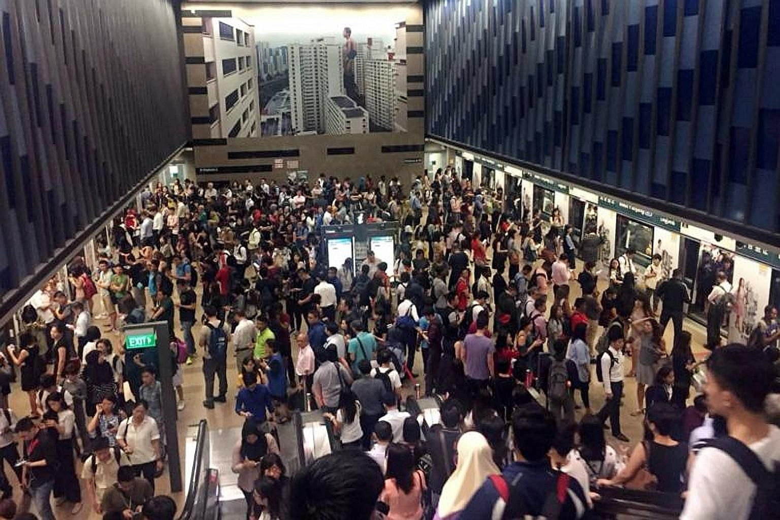 A photo taken by a commuter yesterday morning shows the crowd at the Bukit Panjang MRT station. The fault lies with Tampines West, but commuters along the entire line were affected.