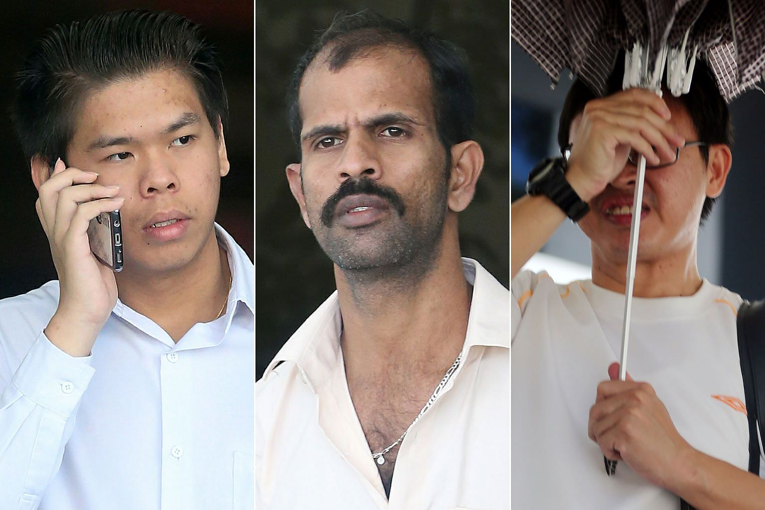 (From top) E-scooter rider Ho Jun Wei, cyclist Sathappan Anbarasan and e-scooter rider Chew Hup Seng were charged with rash or negligent acts. Ho's and Sathappan's victims were injured and taken to hospital.