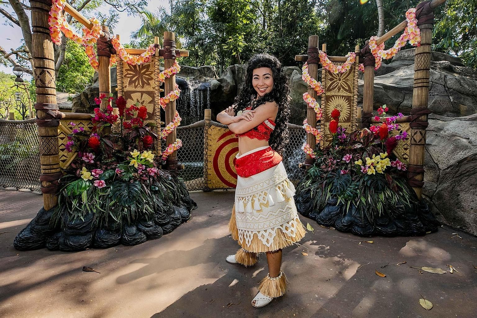 Meet Moana (above) and watch the buildings of Main Street, USA (left)transform into a canvas for visuals paying tribute to Mickey Mouse at Hong Kong Disneyland Resort.