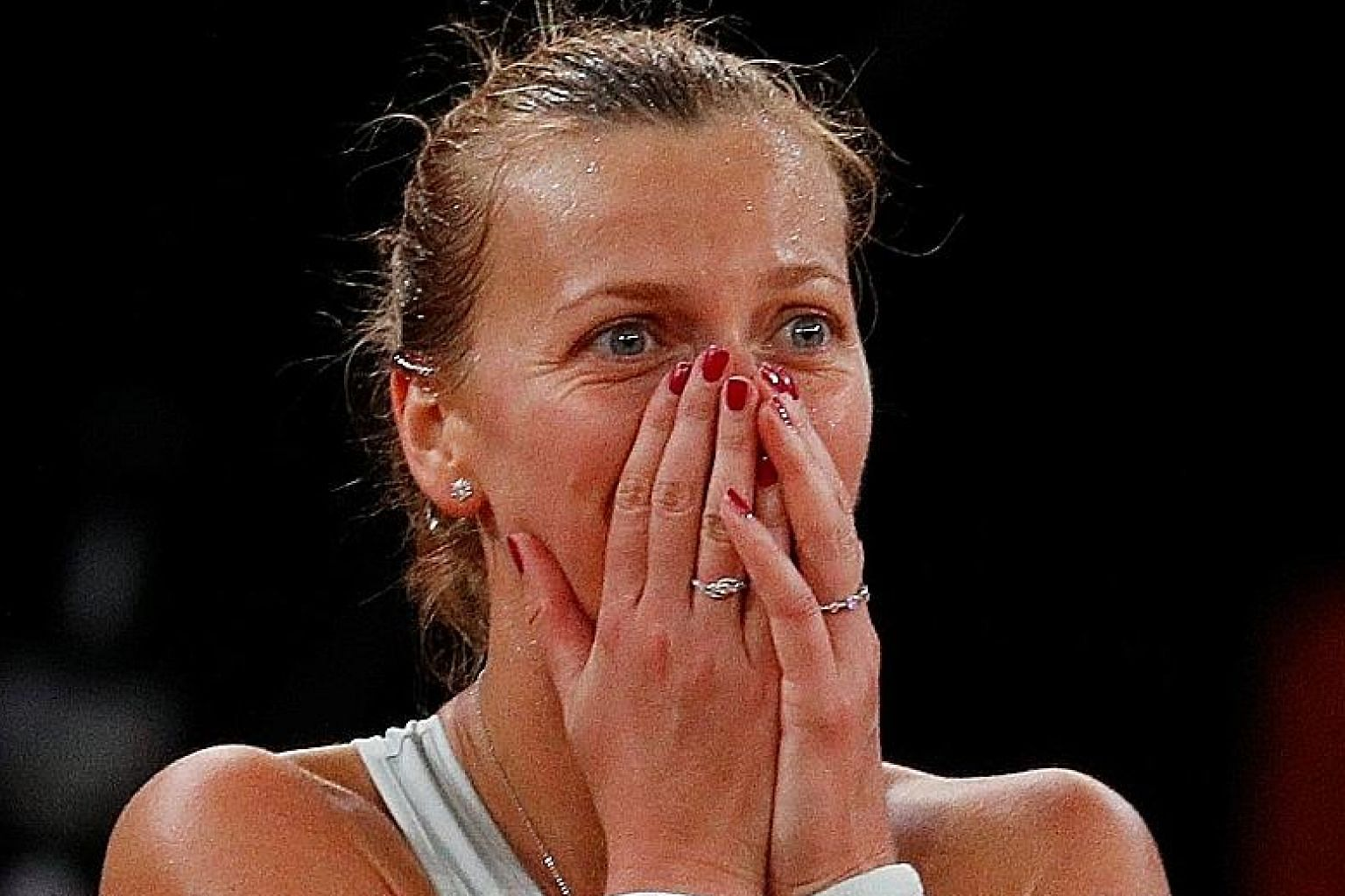An overjoyed Czech tennis star Petra Kvitova after beating the Netherlands' Kiki Bertens in the Madrid Open final on May 12.