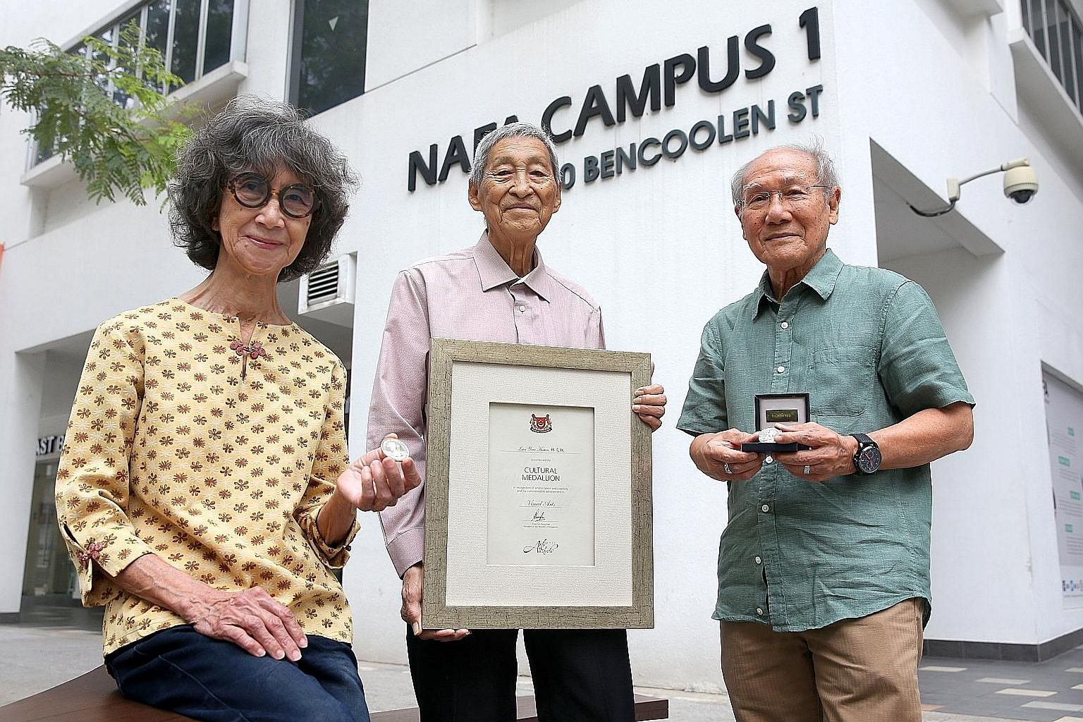 Nanyang Academy of Fine Arts has produced the most Cultural Medallion recipients, including (from far left) Han Sai Por, Lim Yew Kuan and Thomas Yeo.