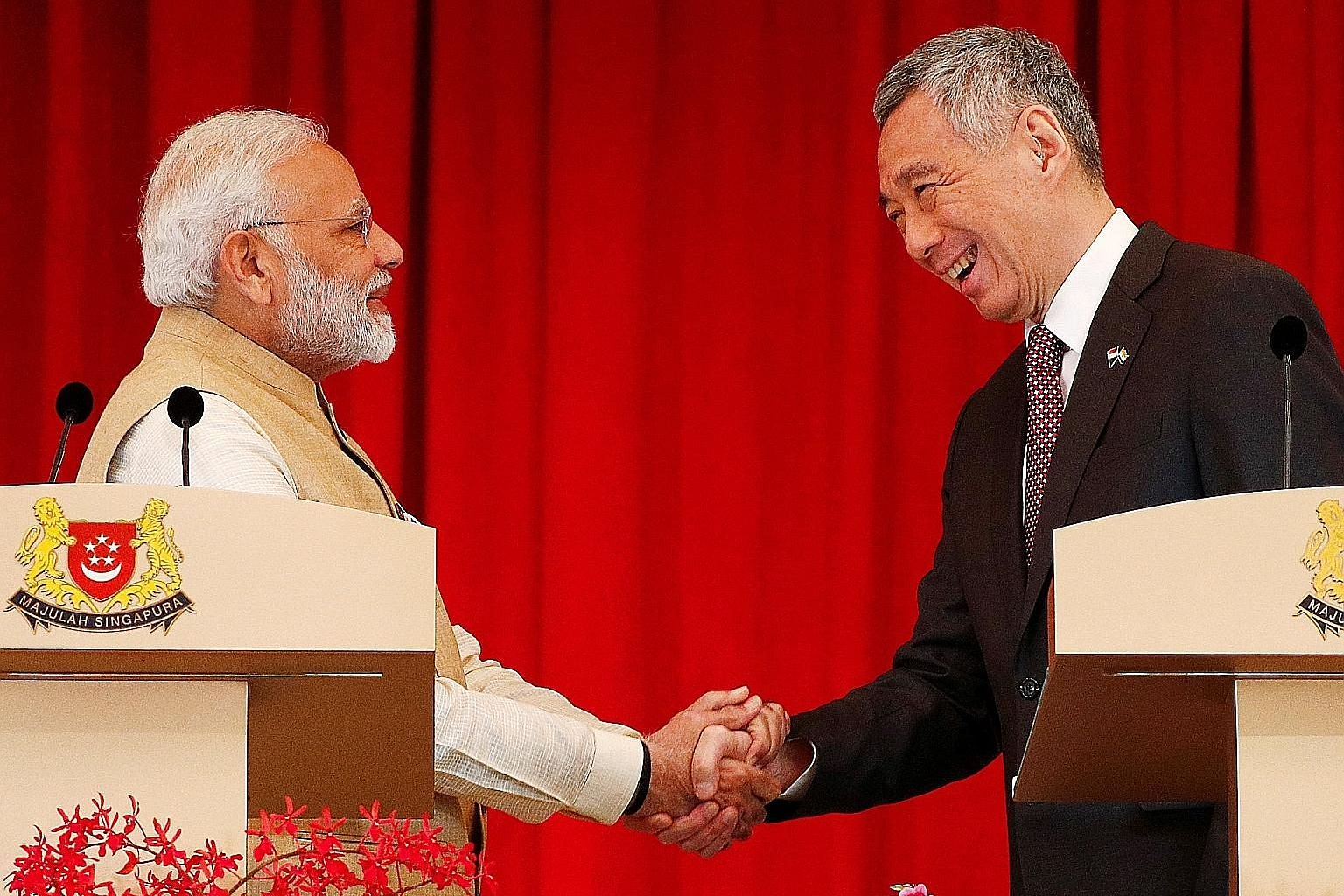 Indian Prime Minister Narendra Modi with Prime Minister Lee Hsien Loong at the Istana yesterday. A joint statement issued by both leaders noted the importance of fintech as the new driver of the bilateral economic partnership.