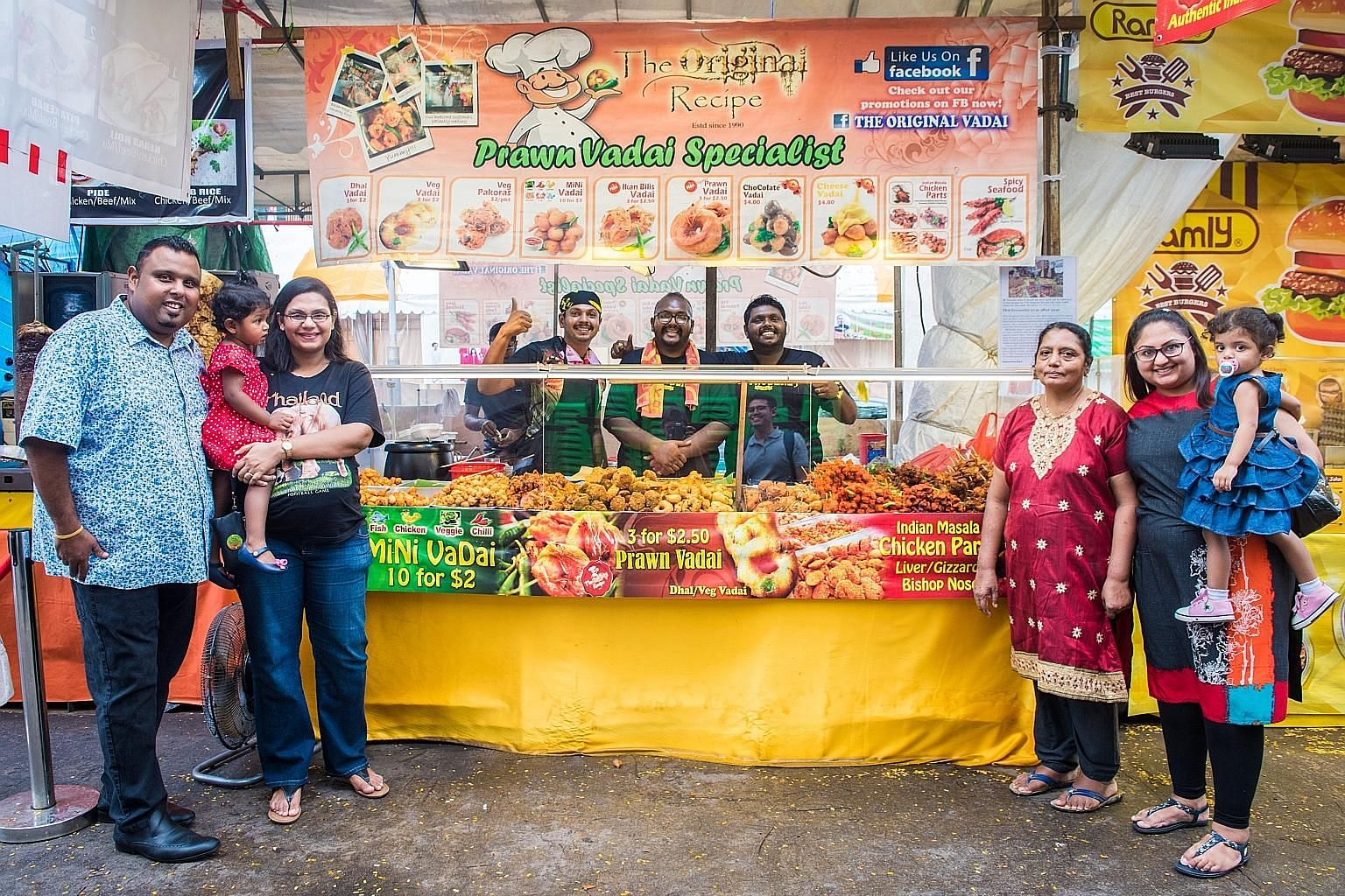 Mr Suriyah Selvarajah's family at their Original Recipe vadai stall, which offers cheese and chocolate variations.