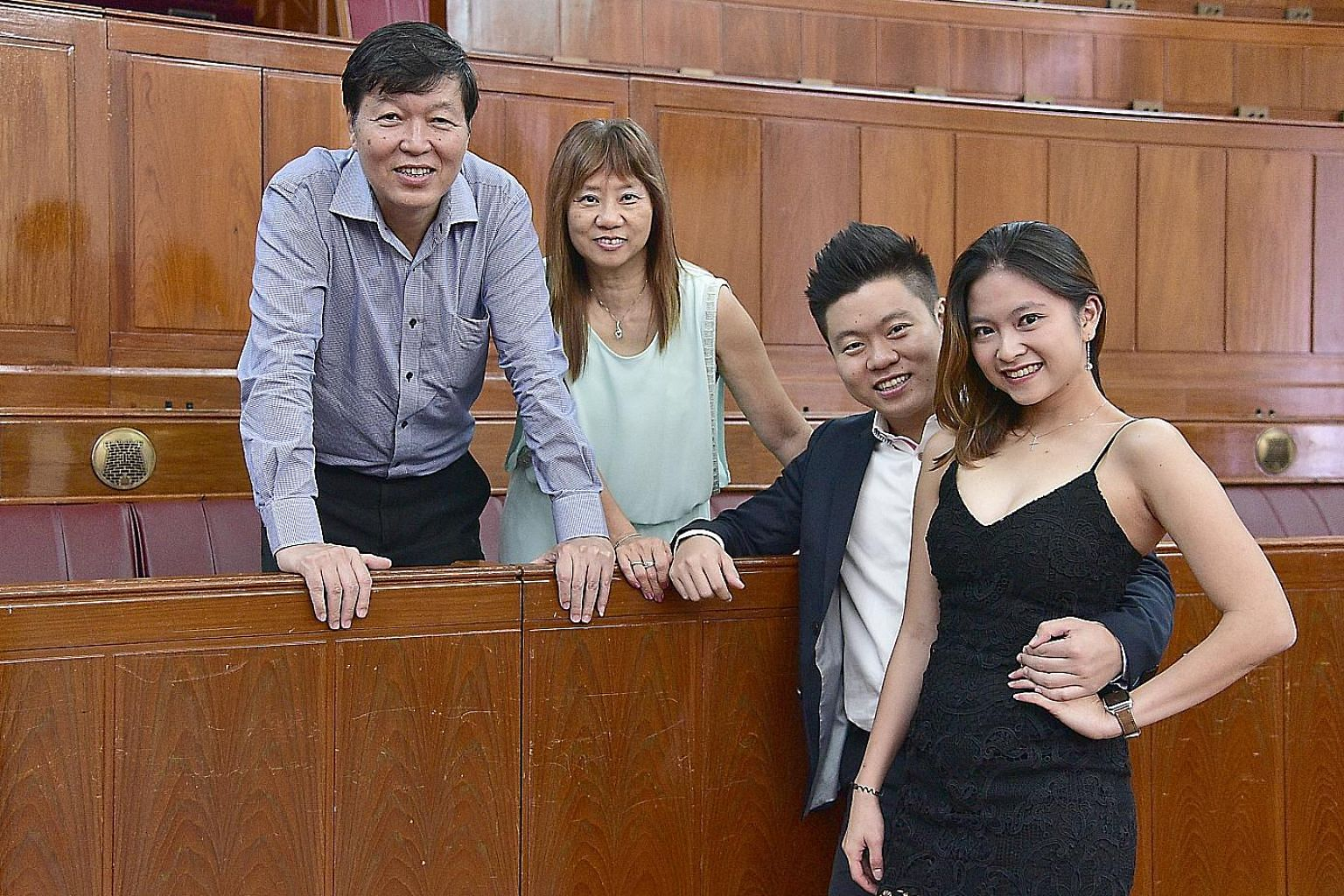 Wonderlabs co-founder and chief executive Ivan Chang with girlfriend Charmain Tan and parents Eddie Chang and Lindy Neo. The SMU alumnus credits his parents with teaching him the value of thriftiness, and the importance of having insurance that is no