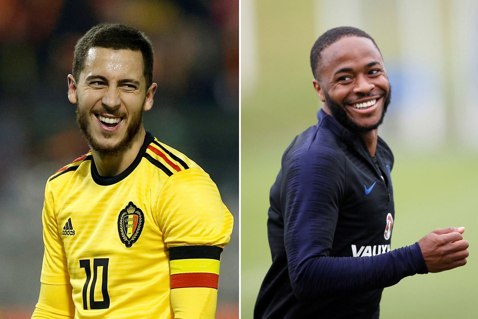 It will be a battle of the Premier League stars in Belgium versus England. Eden Hazard (far left) had 12 league goals in a relatively subdued season with deposed champions Chelsea, while Raheem Sterling hit the net 18 times in Manchester City's runaw
