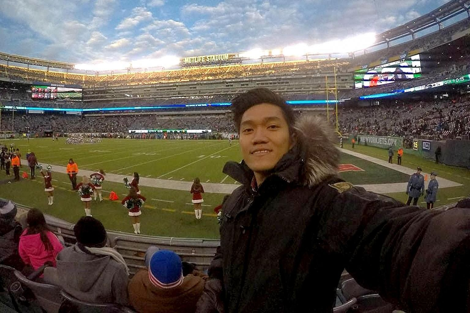 Mr Lim Zi Jian at an American football game in New Jersey during his US internship. He has been interning since August last year at a vertical farm start-up, which hopes to revolutionise agriculture methods.