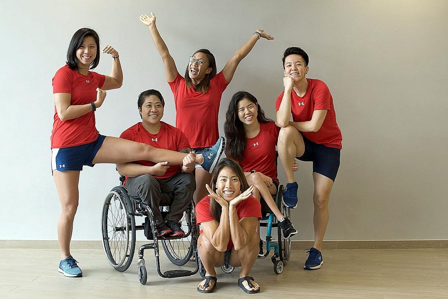 From left: National athletes Amanda Lim, Theresa Goh, Stephenie Chen, Yip Pin Xiu, Shayna Ng and Sarah Chen (front) formed the Heartwork initiative to help the less privileged in Singapore.