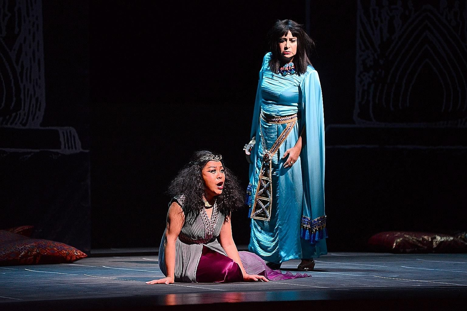 Nancy Yuen (left) and Grace Echauri star in Verdi's Aida.