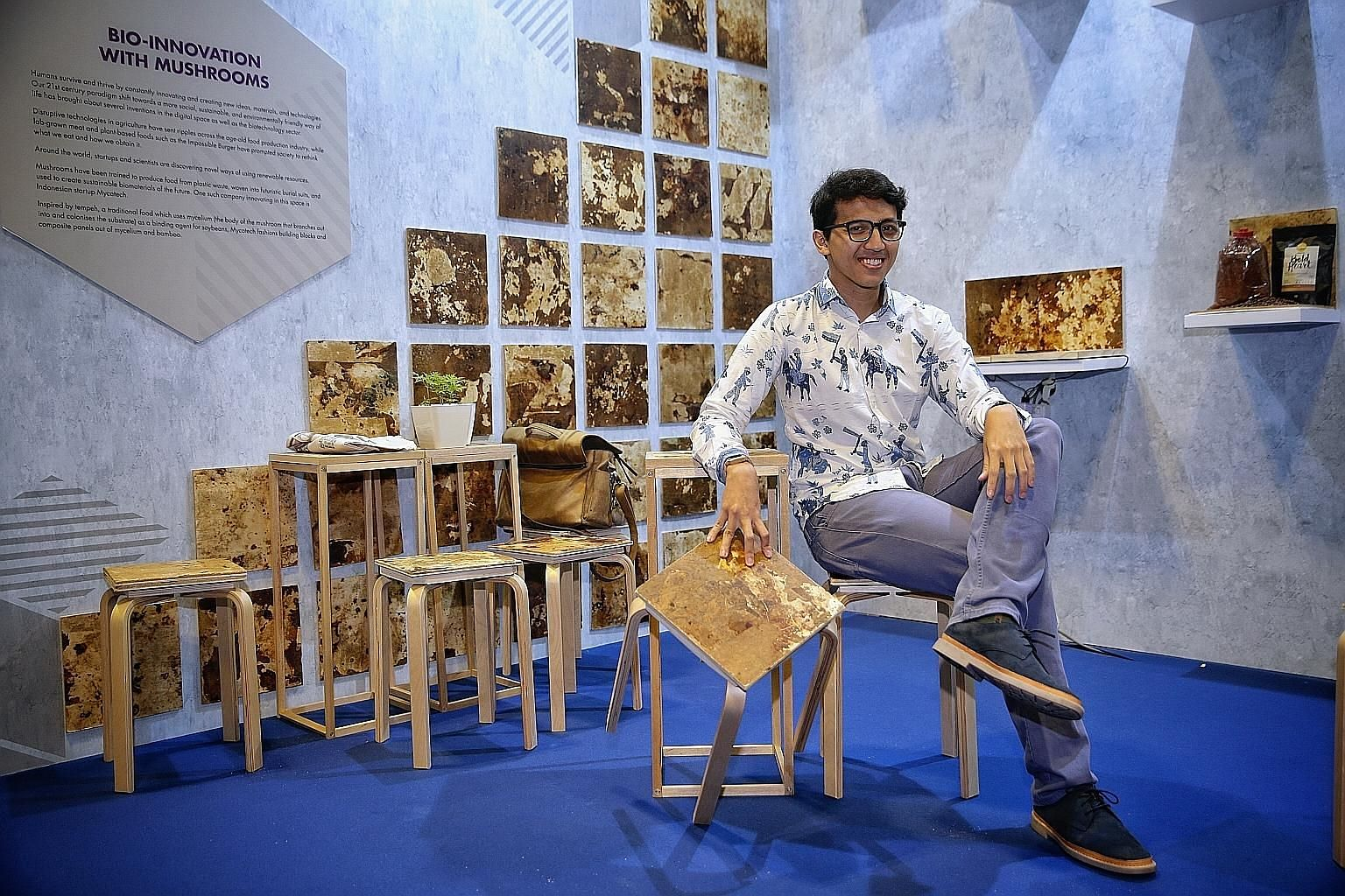 """Mr Ronaldiaz Hartantyo, co-founder of Mycotech, which converts agricultural waste into a low-cost building material that is """"stronger than concrete"""". His firm is collaborating with ETH Zurich's laboratory in Singapore to bring the innovation here."""