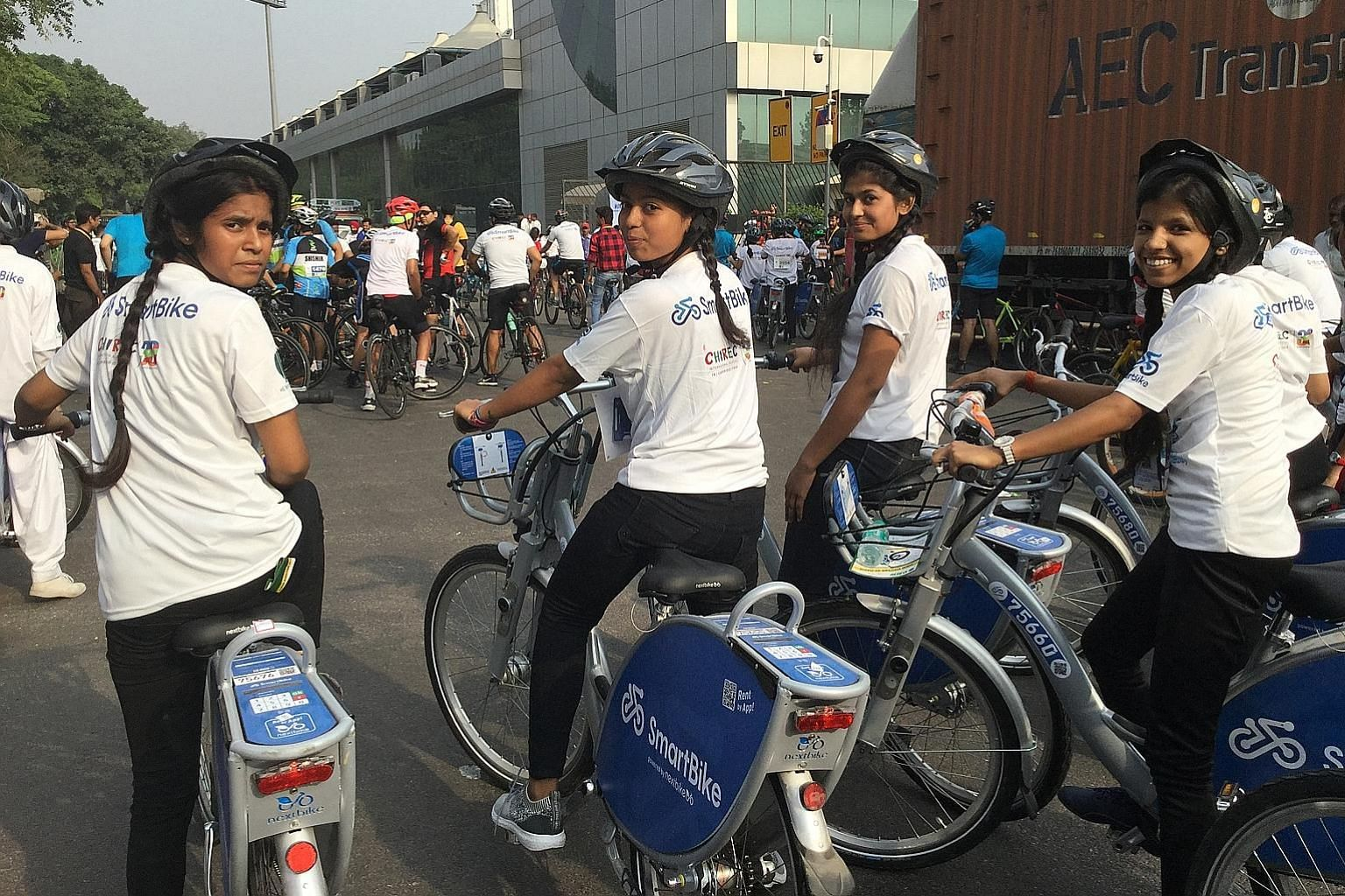 School girls at a bicycle rally in New Delhi to mark World Bicycle Day last Sunday. The rally witnessed the launch of a bike-sharing scheme that the New Delhi Municipal Council has started in collaboration with SmartBike, a firm based in Hyderabad.