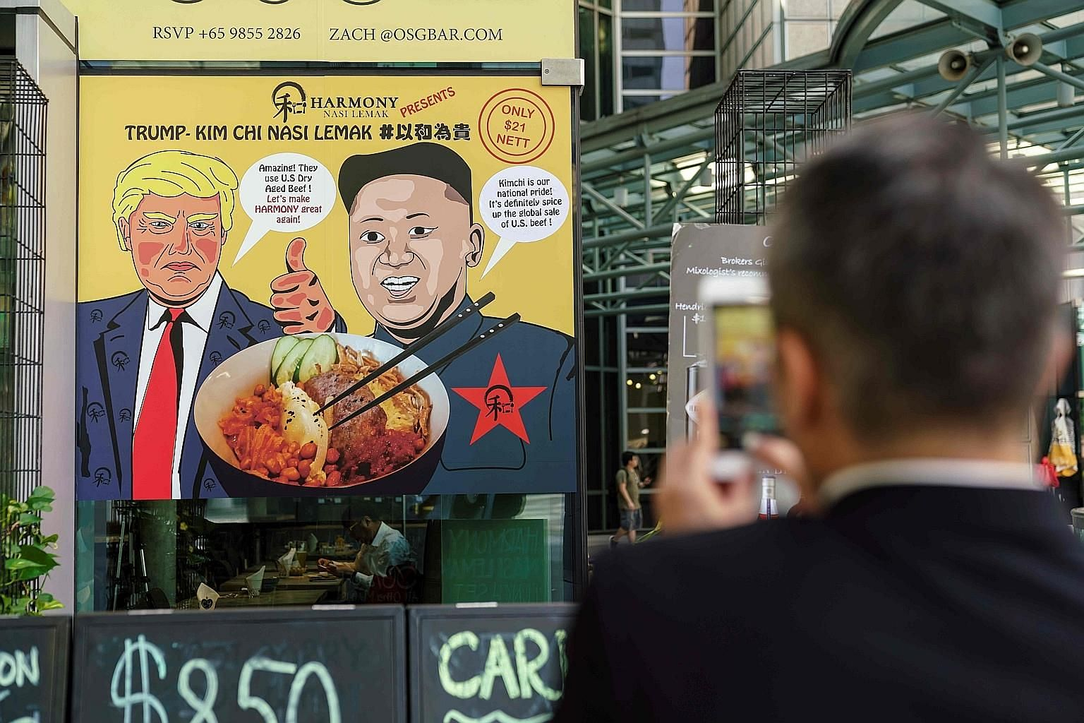 Tycoon Robert Kuok's Shangri-La Hotel in Singapore is heavily tipped to host President Donald Trump and his delegation. A restaurant poster offering a Trump-Kim Chi nasi lemak special in Singapore. From El Trumpo and Rocket Man tacos to Bromance cock