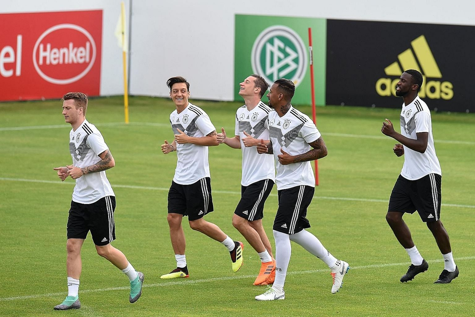 Players from the German team training ahead of the 2018 Fifa World Cup in Russia. Fifa has earmarked US$134 million for insurance for clubs whose players get injured in this year's event.
