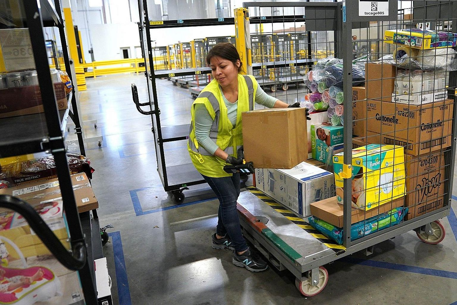 An Amazon fulfilment centre in the US. The company opened a distribution centre in Melbourne, Australia, in December and will open another, in Sydney, later this year.