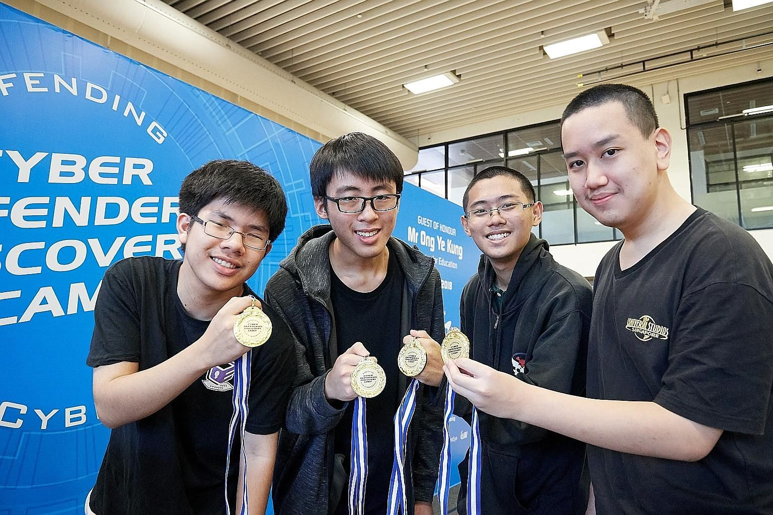 (From left) The quartet from Raffles Junior College - Bryan Juniano, Ooi Ken Jin, Zhang Weiyao and Jaryl Ngoh - won in the category for junior colleges and integrated programme students.