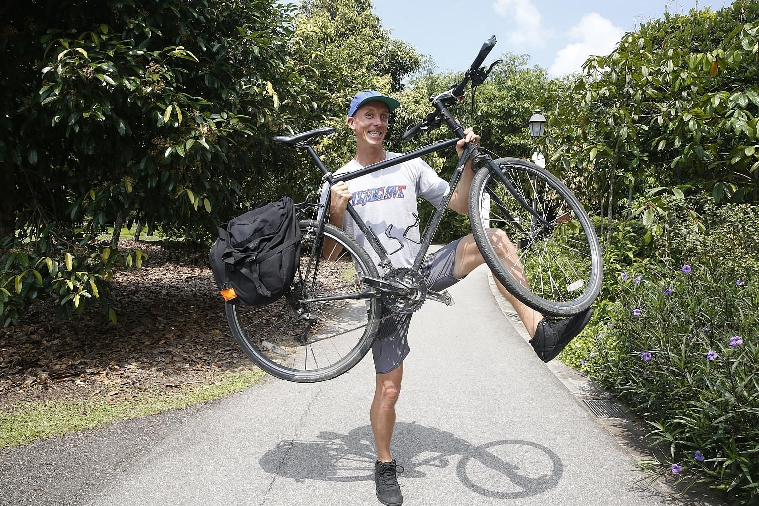 Mr Markus Pukonen has travelled halfway round the world from Toronto, Canada, using basically just muscle power - by walking, cycling, paddling along the Mekong River and hopping for 10km on a pogo stick, and he has not even taken the escalator - sin