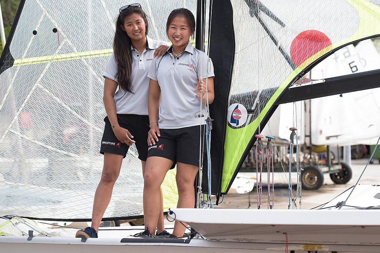Sailors Kimberly Lim (right) and Cecilia Low will be heading for August's Asian Games in Indonesia, less than a week after participating in the World Championships in Denmark. The pair are treating both competitions with equal importance.
