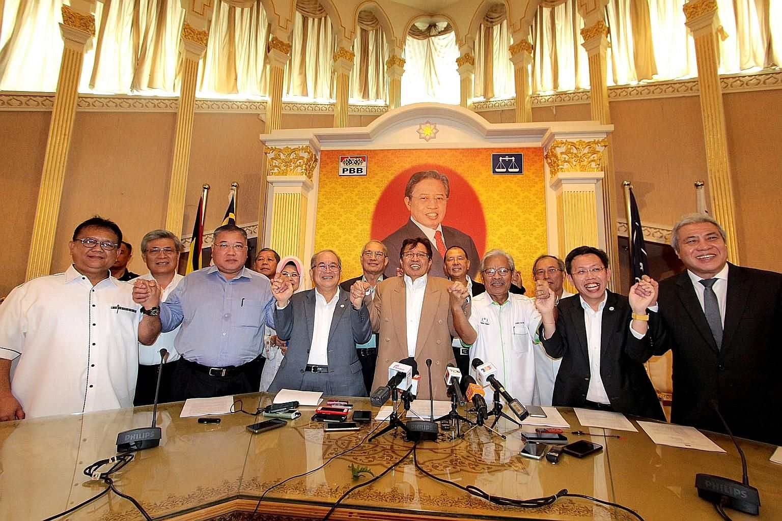 Leaders of the four Sarawak parties that have decided to leave BN include PBB president Abang Johari Tun Openg (centre, in brown jacket), PBB deputy president Douglas Uggah Embas (in grey jacket), and PRS president James Masing (in white shirt).