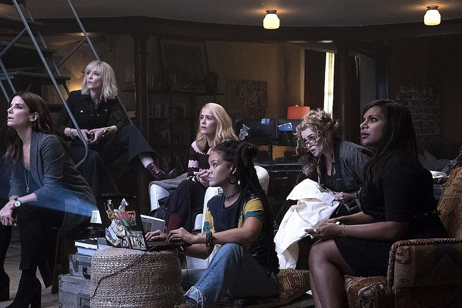 Sandra Bullock (far left) and Cate Blanchett (second from left) assemble a team to pull off an elaborate heist.