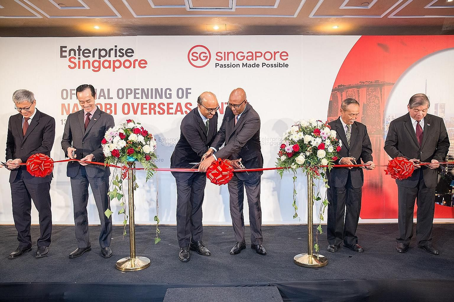 (From left) Enterprise Singapore assistant chief executive Yew Sung Pei, Senior Minister of State for Trade and Industry Koh Poh Koon, Deputy Prime Minister Tharman Shanmugaratnam, Kenyan Cabinet Secretary for Ministry of Industry, Trade and Cooperat