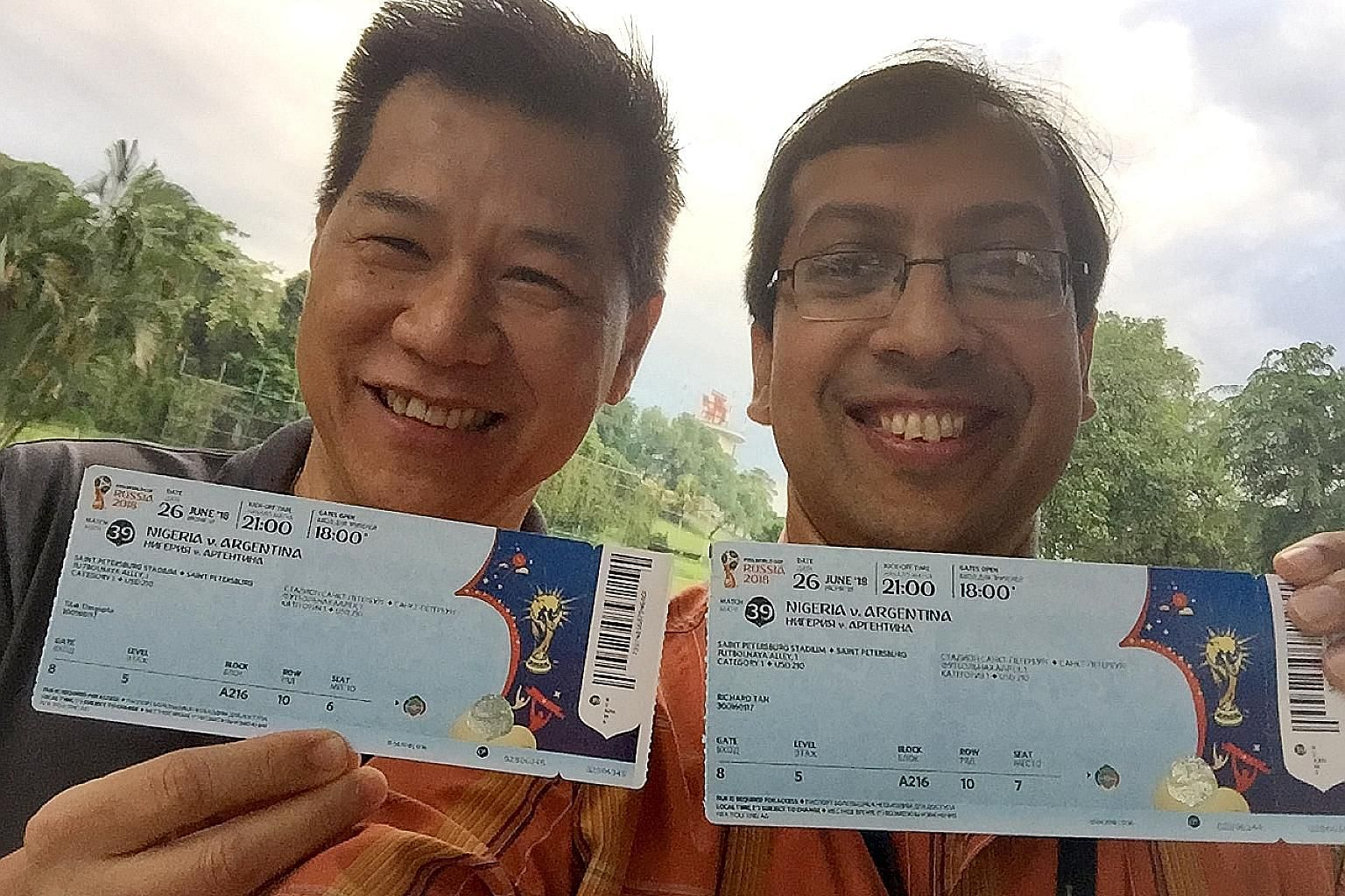 Richard Tan and Tilak Dasgupta are thinking of taking the Singapore flag with them to Russia to watch the World Cup.
