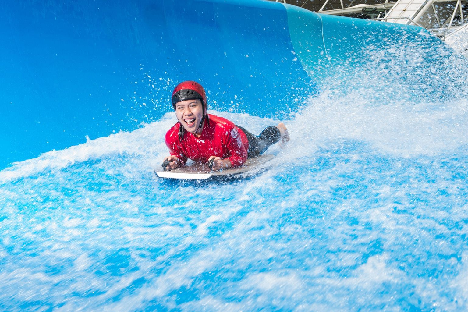Among the 14 Play At The Hub activities that children can enjoy till June 24 is surfing on the Stingray facility at Splash-N-Surf.