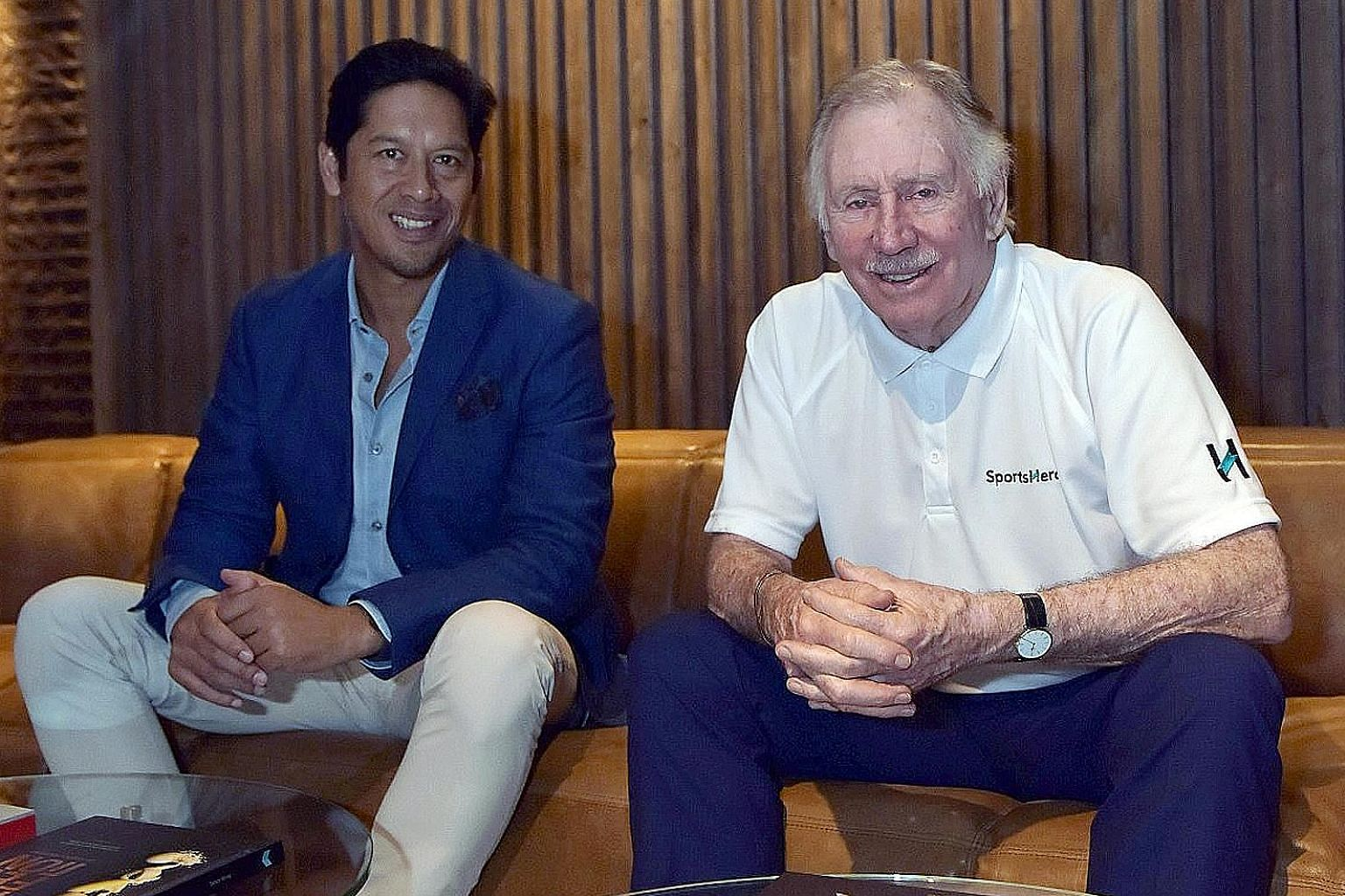 SportsHero CEO Tom Lapping (left), with the company's cricket ambassador and retired Australian legend, Ian Chappell. SportsHero expanded to India in April by adding cricket to its line-up of sports. The prediction app had previously offered only foo