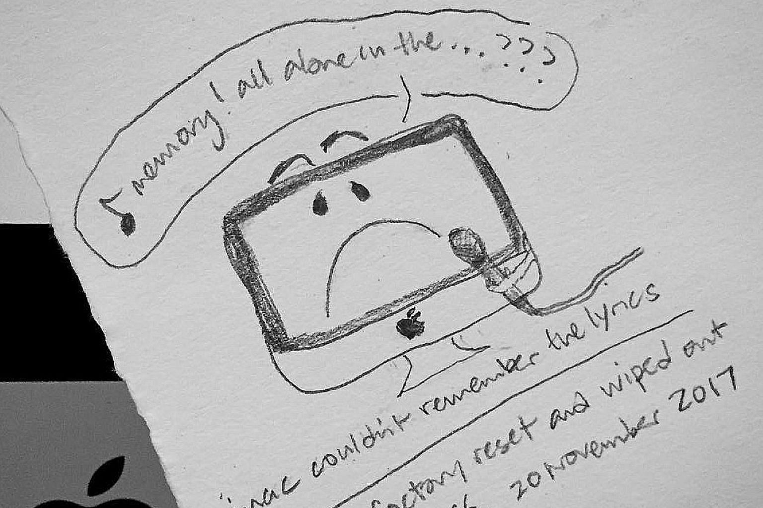 A doodle by the writer (@sseeingthings) about the masochistic pleasure of losing loads of photos and writing when 1TB of stuff on her iMac was wiped out. But a lot of data probably still exists in some cloud, old external drives, e-mails and devices.
