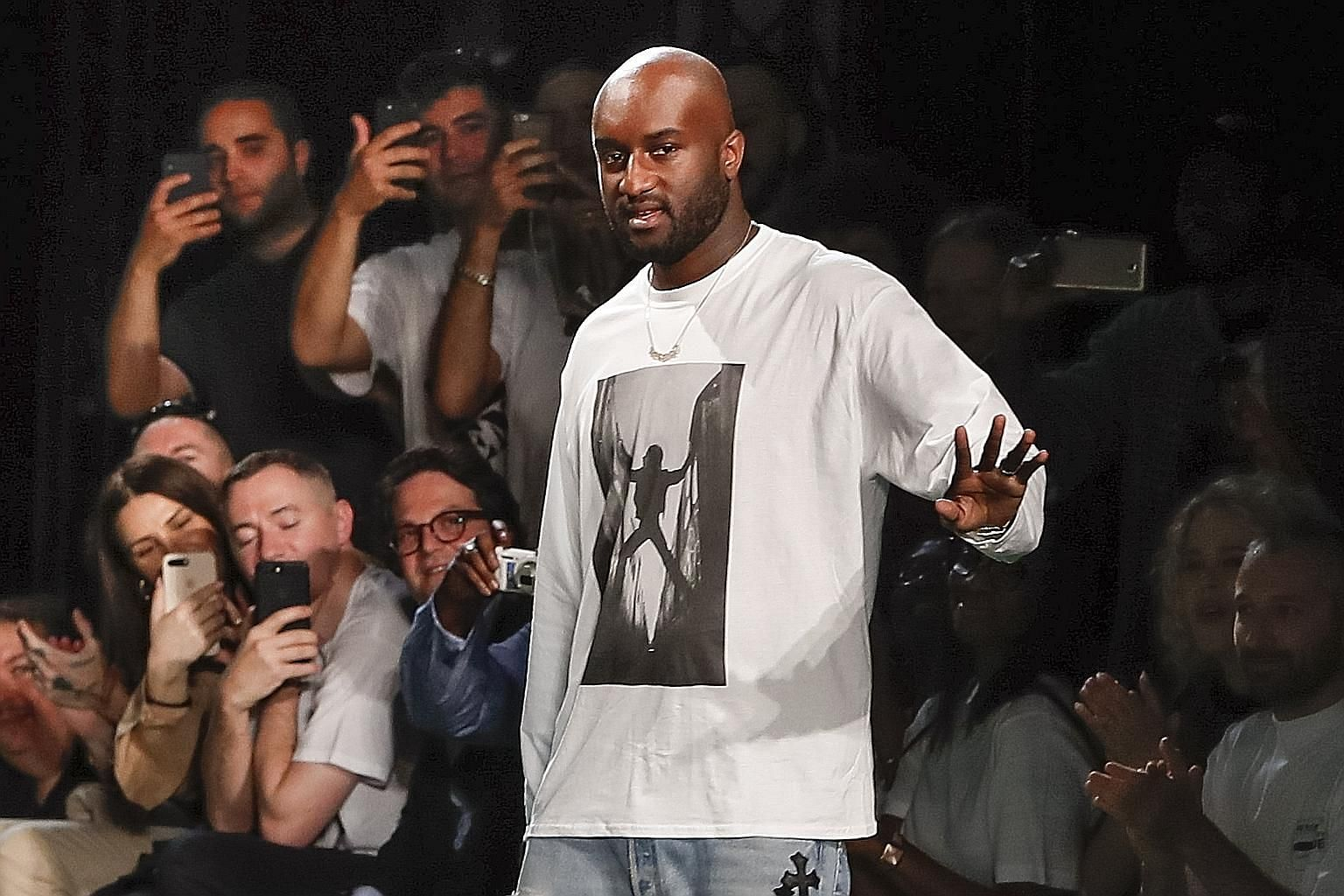 Fashion designer Virgil Abloh on the runway after showing his Off-White Spring/Summer 2019 men's collection during Paris Men's Fashion Week last week.