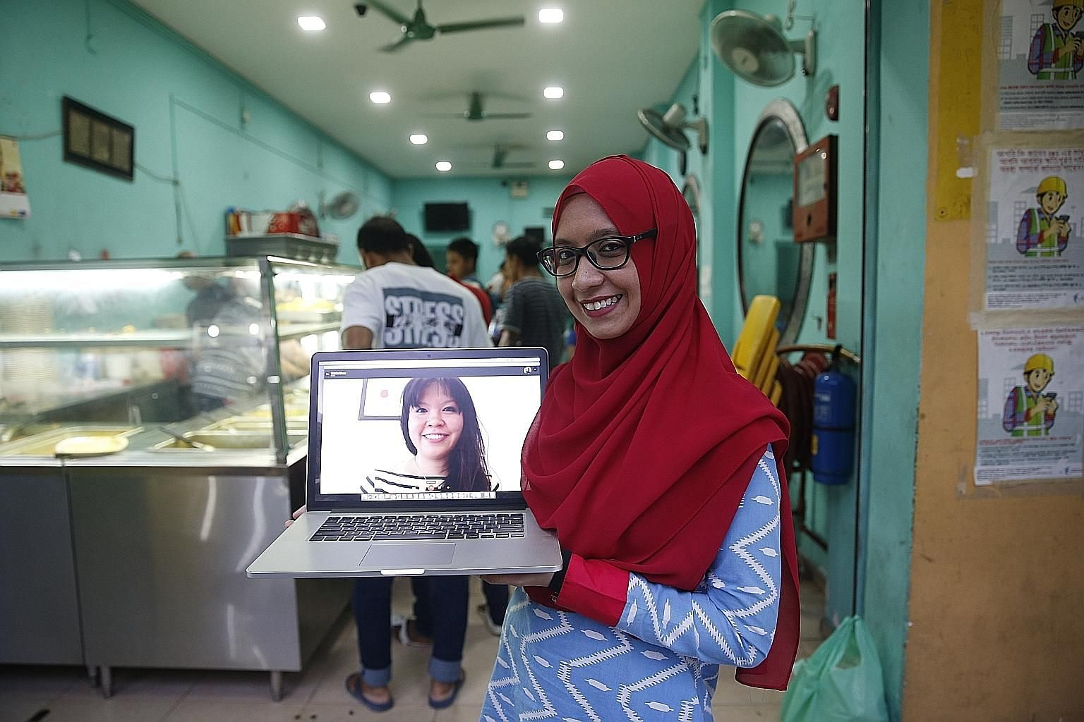 Crowdfunding campaign #SGMuslims4 MigrantWorkers was started by two women, Ms Shirin Chua (on laptop screen) and Ms Ameera Begum. The campaign, which had an initial target of $10,000, has raised $58,000 in five weeks. Bangladeshi migrant worker Motin