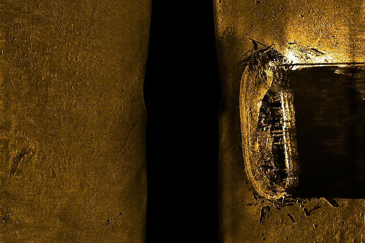 A sonar scan of Arctic explorer John Franklin's lost ship, HMS Erebus, on the ocean floor. A new study warns that global warming is hastening the thaw of permafrost and coastal erosion that is threatening thousands of Arctic archaeological sites in C