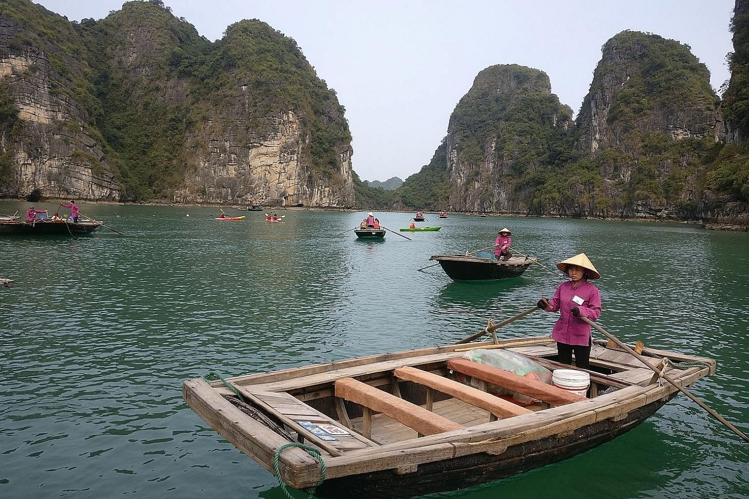 Halong Bay, a Unesco World Heritage Site and a four-hour drive from Hanoi, features thousands of limestone karsts and isles in various shapes and sizes.