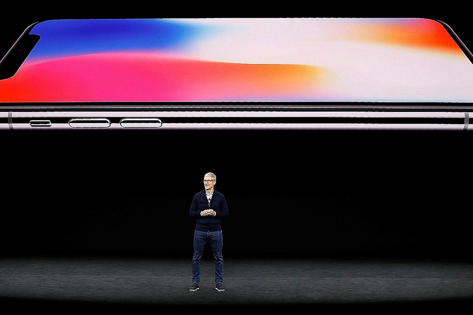 Mr Tim Cook, chief executive officer of Apple, speaks about the iPhone X during a launch event in Cupertino, California, in September last year.