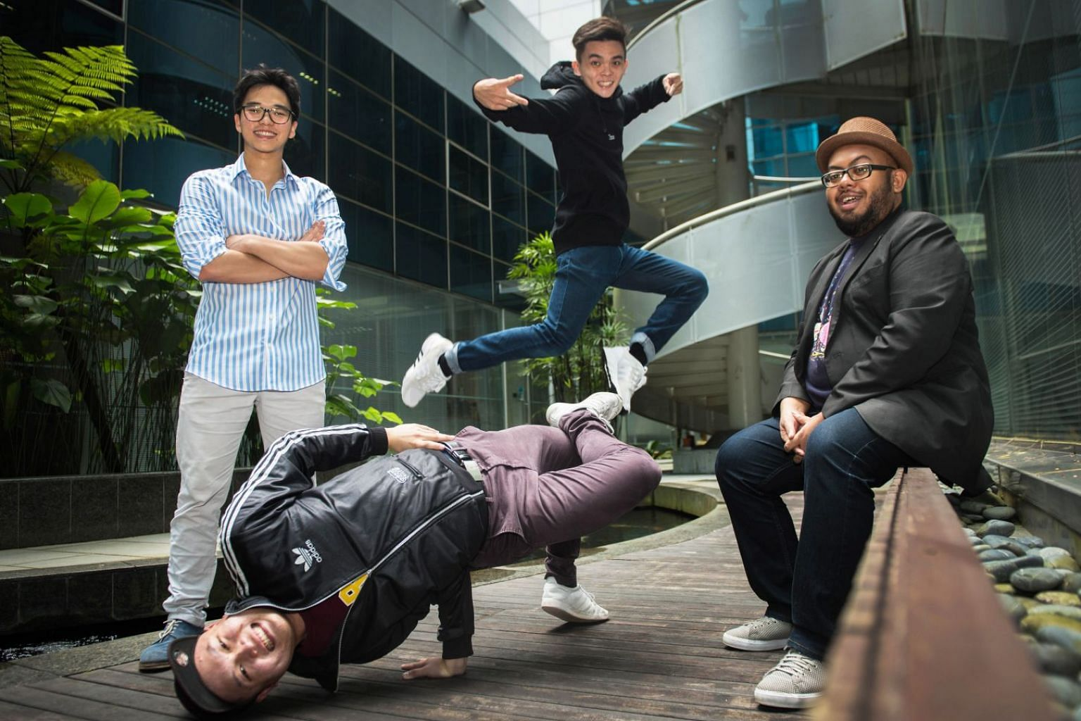 Clockwise from far left) Edward Eng, Michael Ng, Mohamad Shaifulbahri and Dominic Nah are the creators behind the performance, dead was the body till i taught it how to move, a play about b-boys.