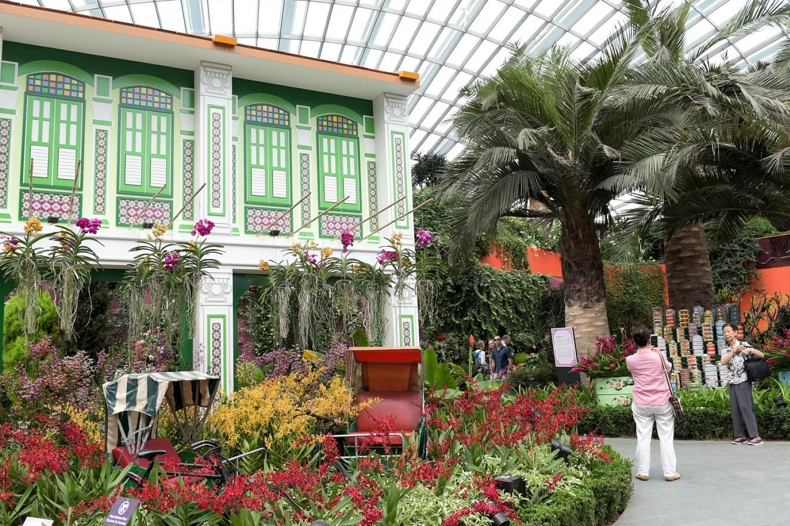 A Peranakan-inspired Orchid Extravaganza at Gardens by the Bay sees colourful blooms spring to life amid shophouse facades, tingkat carriers and kebayas. The Orchid Extravaganza, held in conjunction with the Singapore Garden Festival 2018, runs from