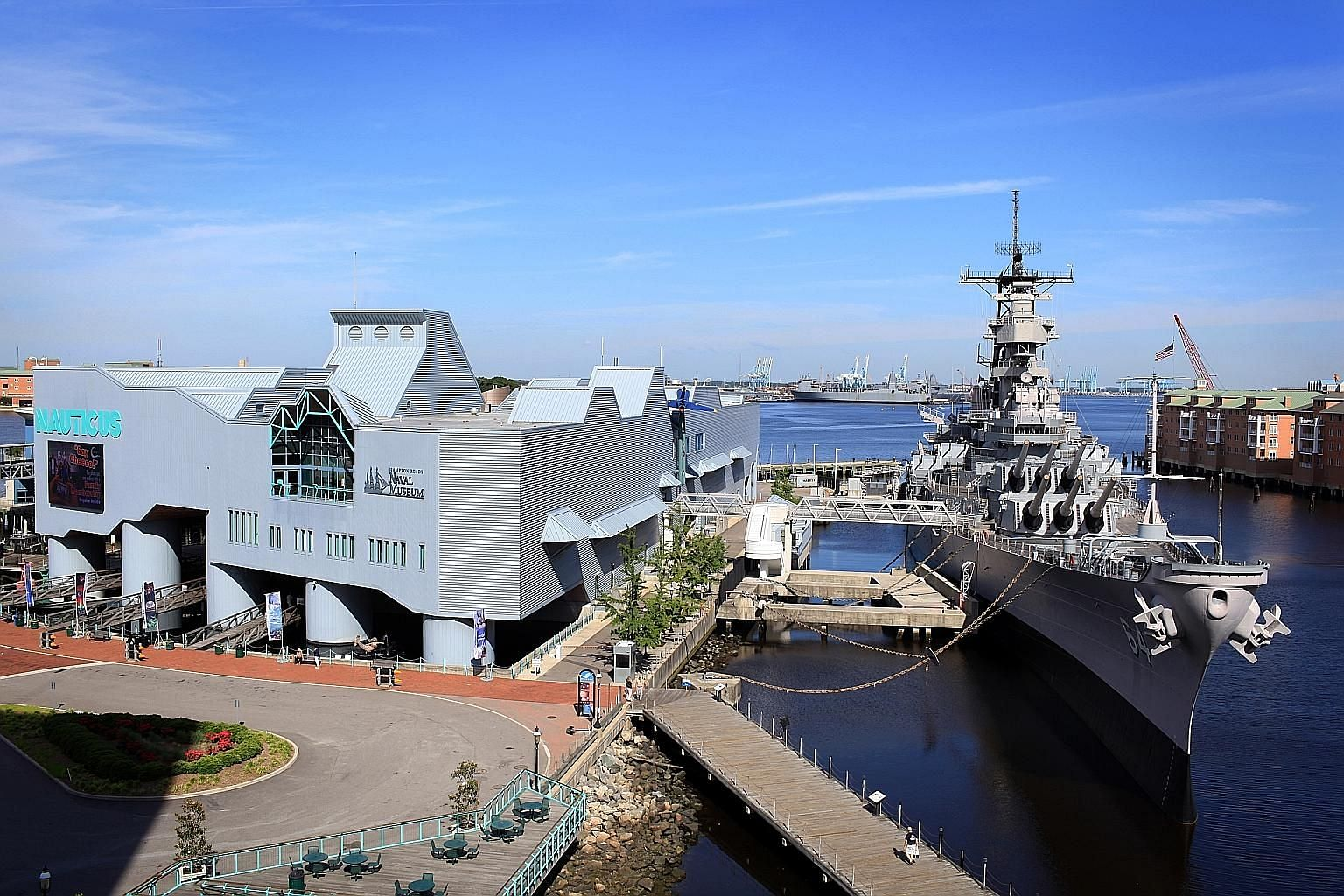 The USS Wisconsin is permanently docked at the Nauticus museum in Norfolk, Virginia.