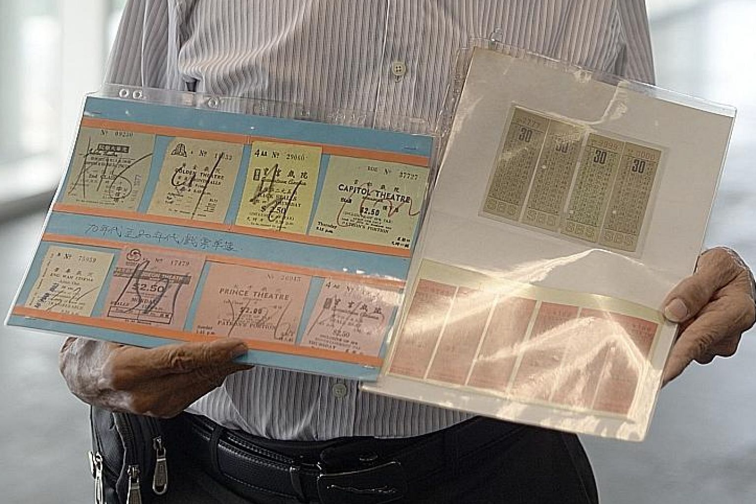 Besides bus tickets, Mr Sim Soo Tee also gave his collection of movie tickets (far left) from the 1970s and 1980s, issued by cinemas such as Odeon, Prince and Jubilee.