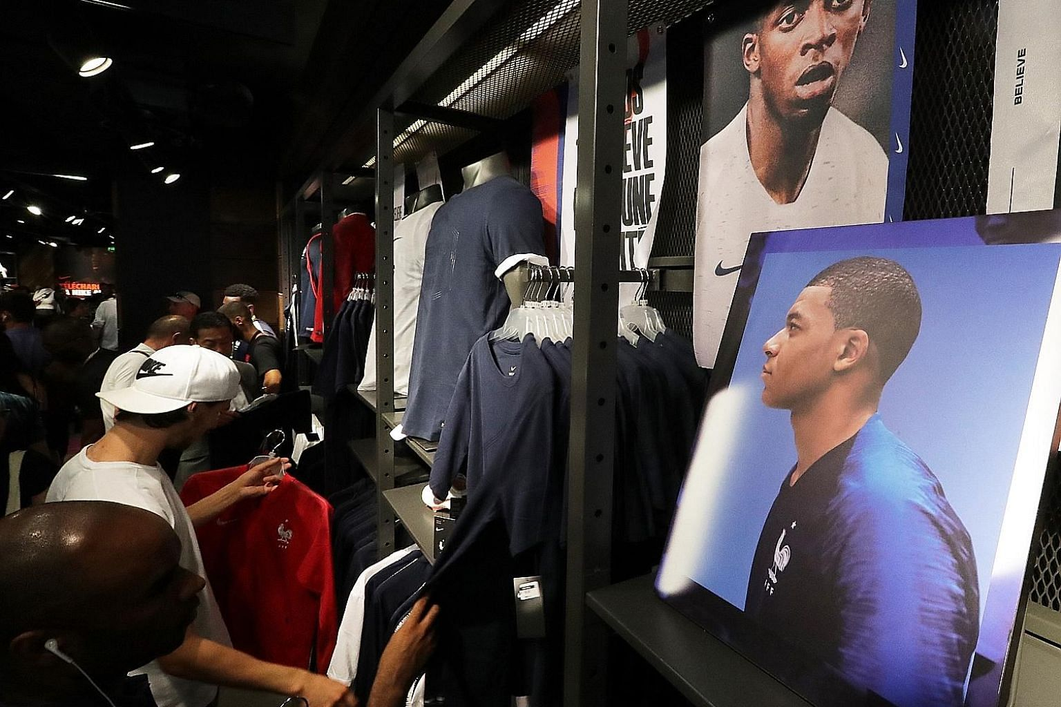 While the France jersey has been sold out at the Nike store on the Champs Elysees, shoppers continue to snap up other Les Bleus-themed apparel and gear.