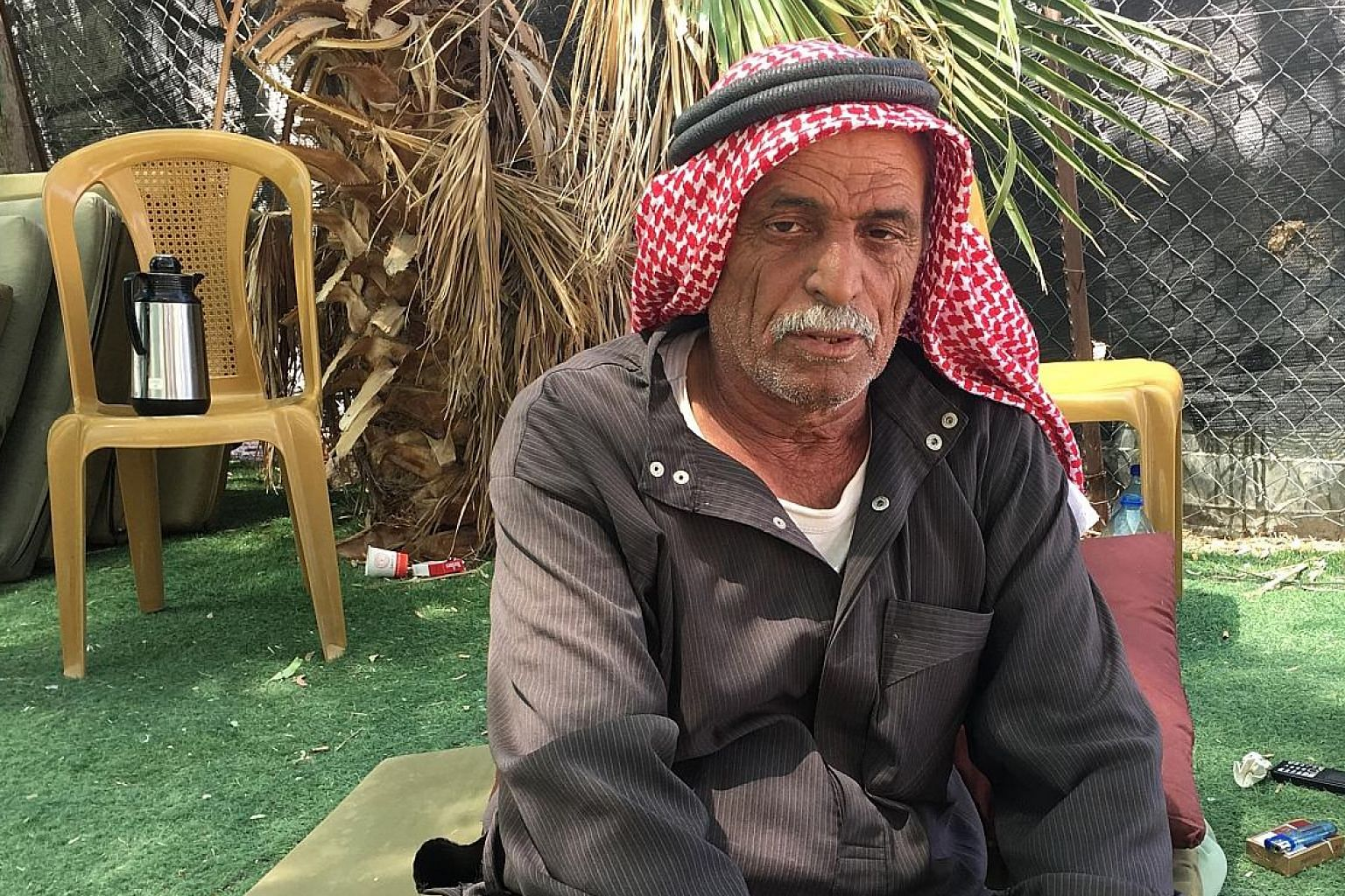 Mr Ahmad Jahalin worries about the fate of his birthplace, Khan al-Ahmar, in the barren mountains of the Judean desert.