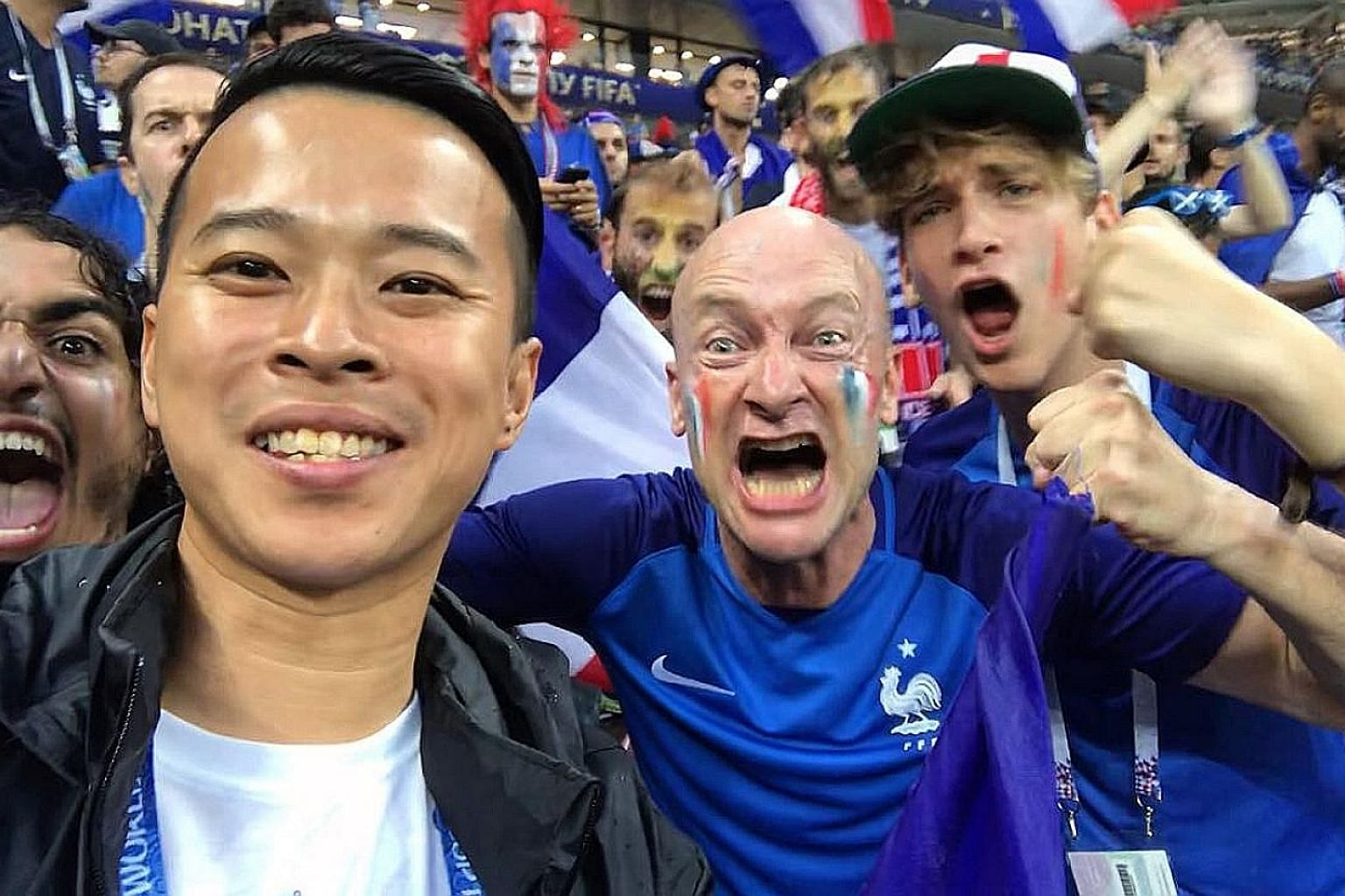 Clockwise, from top left: A downpour could not douse the euphoria of the French fans as our man in Russia joined them in their celebrations after the final. The late sunset by the Volga River in Samara was simply a sight to behold. David Lee with the